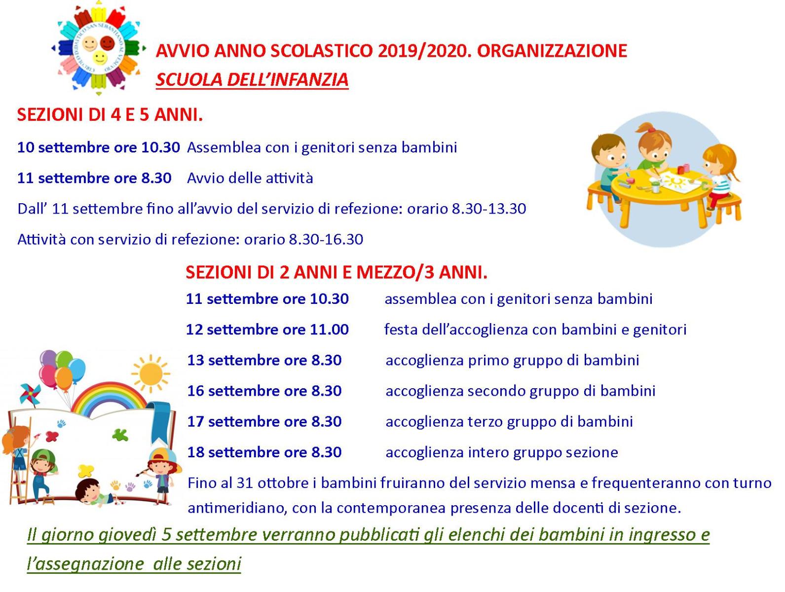SCUOLA INFANZIA. AVVIO ANNO SCOLASTICO 2019/2020