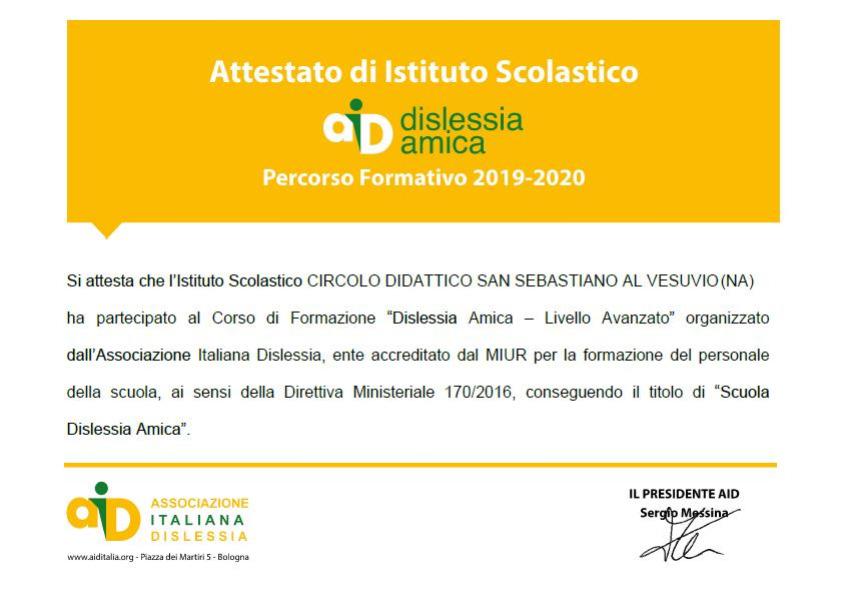 Attestato Dislessia Amica a.s. 2019-2020