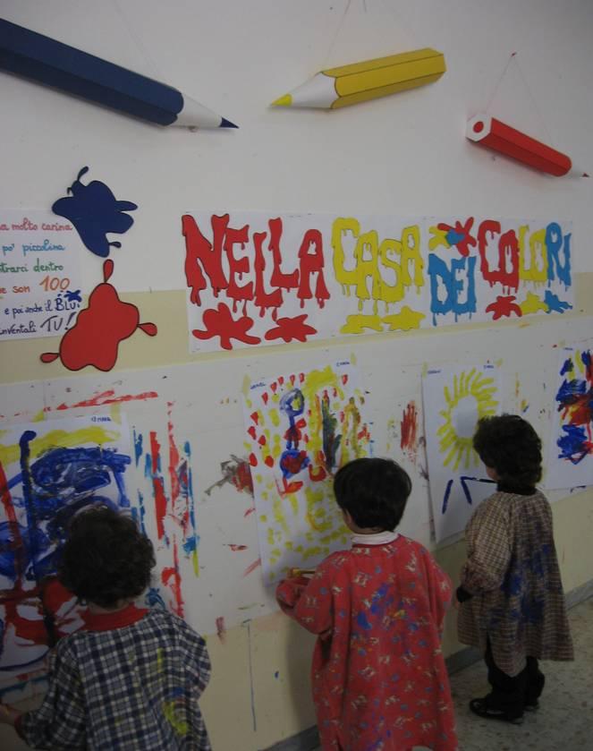 bambini dipingono nel laboratorio grafico-pittorico